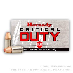 50 Rounds of 9mm Ammo by Hornady Critical Duty - 135gr JHP