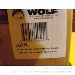1000 Rounds of 5.45x39mm Ammo by Wolf - 60gr FMJ