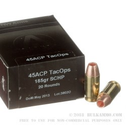 20 Rounds of .45 ACP Ammo by PNW Arms - 185gr SCHP