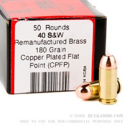 50 Rounds of .40 S&W Ammo by BVAC - 180gr CPFN