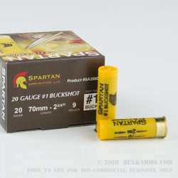 250 Rounds of 20ga Ammo by Spartan Ammo -  #1 Buck