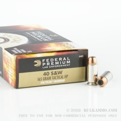 50 Rounds of .40 S&W Tactical Bonded Ammo by Federal LE - 165gr JHP