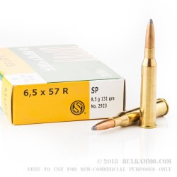 20 Rounds of 6.5x57mm Rimmed Ammo by Sellier & Bellot - 131gr SP