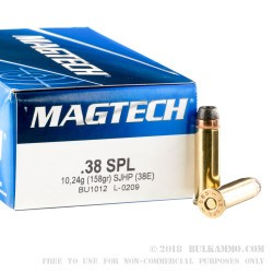 50 Rounds of .38 Spl Ammo by Magtech - 158gr SJHP
