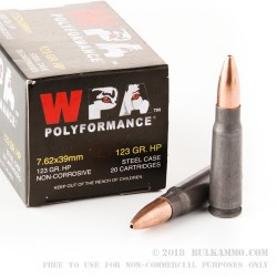 20 Rounds of 7.62x39mm Ammo by Wolf WPA Polyformance - 123gr HP