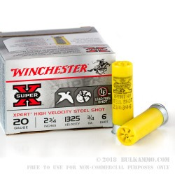 25 Rounds of 20ga Ammo by Winchester - 3/4 ounce #6 Shot (Steel)