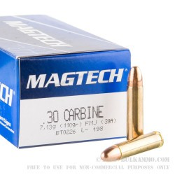 1000 Rounds of .30 Carbine Ammo by Magtech - 110gr FMJ