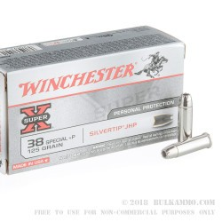 50 Rounds of .38 Spl Ammo by Winchester SilverTip - +P 125gr JHP