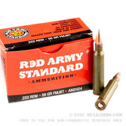 1000 Rounds of .223 Ammo by Red Army Standard - 56gr FMJBT
