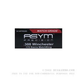20 Rounds of .308 Win Ammo by ASYM Precision Ammunition - 175gr HPBT