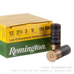 25 Rounds of 12ga Ammo by Remington LE - Reduced Recoil - 00 Buck - 9 Pellet