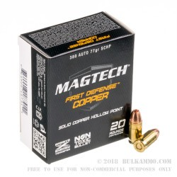 20 Rounds of .380 ACP Ammo by Magtech - 77gr SCHP