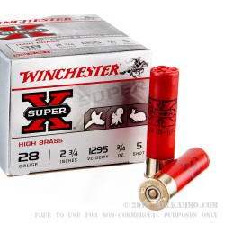 "25 Rounds of 28ga Ammo by Winchester Super-X - 2 3/4"" 3/4 ounce #5 shot"