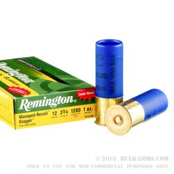 5 Rounds of 12ga Ammo by Remington - 1 ounce Rifled Slug