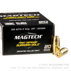 20 Rounds of .380 ACP Ammo by Magtech - 85gr JHP