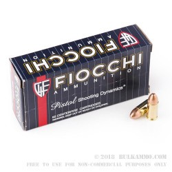 50 Rounds of 9mm Ammo by Fiocchi - 147gr FMJ