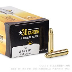 50 Rounds of .30 Carbine Ammo by Armscor USA - 110gr FMJ