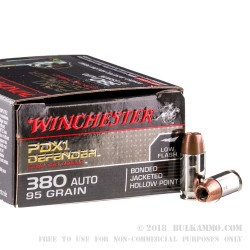 200 Rounds of .380 ACP Ammo by Winchester PDX1 - 95gr JHP