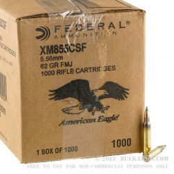 1000 Rounds of 5.56x45 XM855 Steel Core Ammo by Lake City - 62gr FMJ