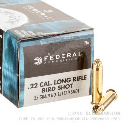 500 Rounds of .22 LR Ammo by Federal Game-Shok - 25gr #12 shot