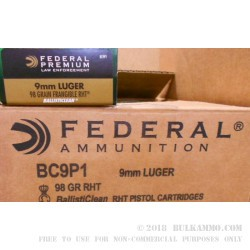 50 Rounds of 9mm Ammo by Federal Premium Law Enforcement - 98gr Frangible RHT Ballisticlean