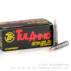 40 Rounds of .223 Ammo by Tula - 62gr FMJ