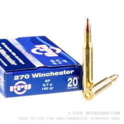 20 Rounds of .270 Win Ammo by Prvi Partizan - 150gr SP