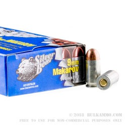 1000 Rounds of 9x18mm Makarov Ammo by Silver Bear - 94gr FMJ