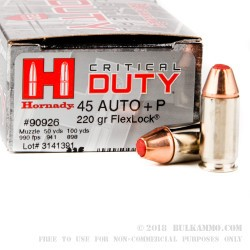 20 Rounds of .45 ACP +P Ammo by Hornady Critical Duty - 220gr JHP