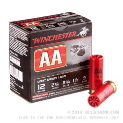 "25 Rounds of 12ga 2-3/4"" Ammo by Winchester - 1 1/8 ounce #9 shot"