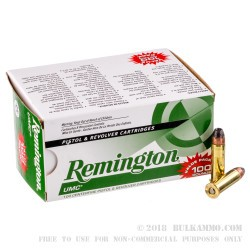 100 Rounds of .38 Spl Ammo by Remington - 125gr SJHP