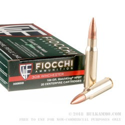 20 Rounds of .308 Win Ammo by Fiocchi Exacta Sierra MatchKing - 168gr HPBT