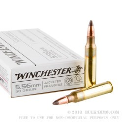 1000 Rounds of 5.56x45 Ammo by Winchester - 50gr Frangible