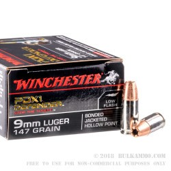 20 Rounds of 9mm Ammo by Winchester Supreme Elite- 147gr PDX1 BJHP