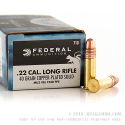 50 Rounds of .22 LR Ammo by Federal - 40gr CPRN