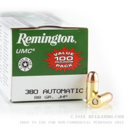 600 Rounds of .380 ACP Ammo by Remington - 88gr JHP