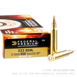 500  Rounds of .223 Ammo by Federal - 55gr Nosler Ballistic Tip