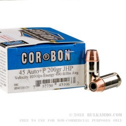 20 Rounds of .45 ACP Ammo by Corbon - 200gr JHP