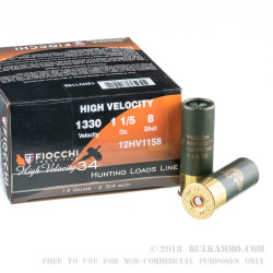 250 Rounds of 12ga Ammo by Fiocchi High Velocity - 1-1/5 oz. #8 shot