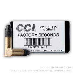 200 Rounds of .22 LR Ammo by CCI - 40gr LS