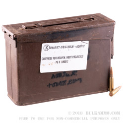 280 Rounds of 7.62x51mm Ammo by Ethiopian Military Surplus in 30 Cal Ammo Can - 145gr FMJ