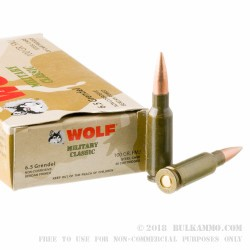 500  Rounds of 6.5mm Grendel  Ammo by Wolf Military Classic - 100 gr FMJ