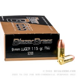 1000 Rounds of 9mm Ammo by Blazer Brass - 115gr FMJ