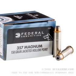 20 Rounds of .357 Mag Ammo by Federal - 158gr JHP