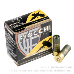 250 Rounds of 12ga Ammo by Fiocchi Golden Pheasant - 1 3/8 ounce #4 shot Nickel Plated