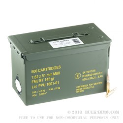 500 Rounds of 7.62x51mm NATO Ammo by Prvi Partizan - 145gr FMJBT