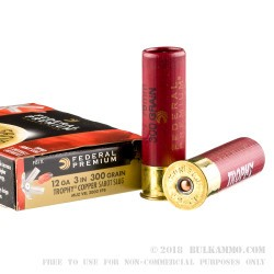"5 Rounds of 12ga 3"" Ammo by Federal - 300 gr Trophy Copper Sabot Slug"