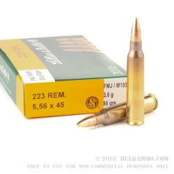 20 Rounds of M193 5.56x45 Ammo by Sellier & Bellot - 55gr FMJ