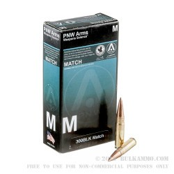 20 Rounds of .300 AAC Blackout Ammo by PNW Arms - 125gr Match HPBT