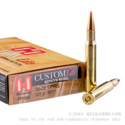20 Rounds of 30-06 Springfield Ammo by Hornady Custom Lite - 125gr SST